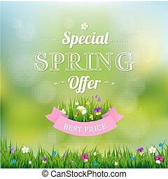 Spring Offer Banner With Gradient Mesh, Vector Illustration