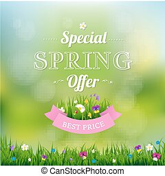 Spring Offer Banner With Gradient Mesh, Vector Illustration
