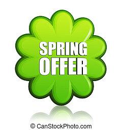 spring offer green flower label
