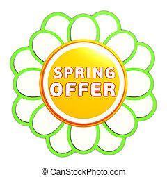 spring offer green orange flower label