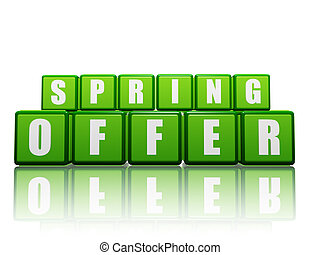 spring offer - text in green boxes