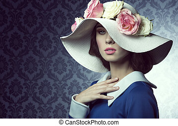 spring old-style girl with hat
