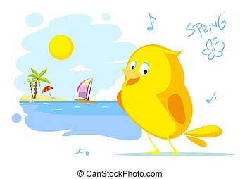 spring on the beach bird ssinging flat vector illustration