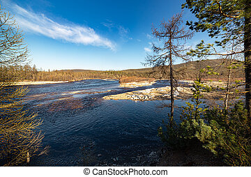 Spring on the Chulman River, South Yakutia, Russia