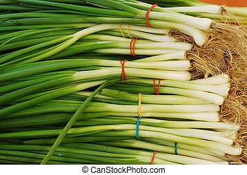 spring onion at the market