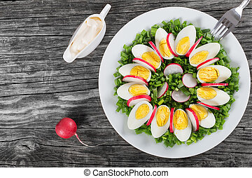 Spring onion, eggs, radish salad, top view