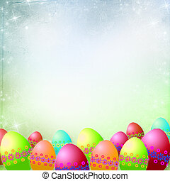 Spring or Easter background with Colorful easter eggs and ...