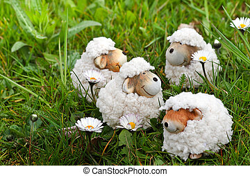 Spring- or easter decoration - sheep in grass