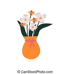 Spring or Summer Colorful Flowers in Orange Vase, Beautiful Bouquet of Fresh Flowers Vector Illustration