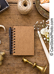 Spring or summer freelance and writing concept. Notepad with sea