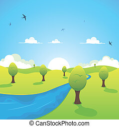Illustration of a cartoon country river landscape with flying swallows in the sky symbolizing spring or summer season