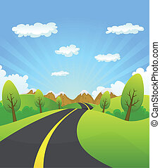 Spring Or Summer Road To The Mountain - Illustration of a...
