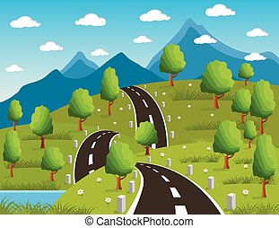 Spring or summer road to the mountain - Illustration of a ...