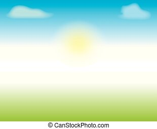Spring or Summer Scene with blue skies and green grass
