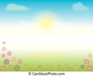 Spring or Summer Scene with flowers in the grass