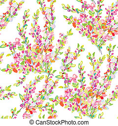 Spring or summer seamless floral background with blooming branches