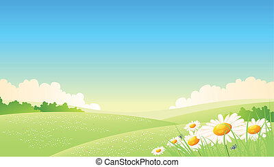 Illustration of a summer or spring seasonal landscape poster background, with flowers at the foreground