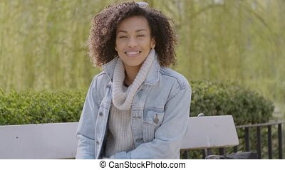 Spring or sunny Autumn outdoor portrait of beautiful mixed...