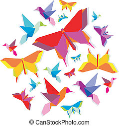 Origami spring butterfly and hummingbird group in circle.