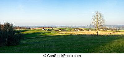 Spring panorama in Carpathian hills