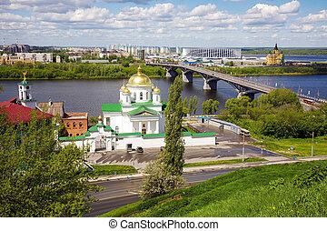 Spring panorama of Nizhny Novgorod