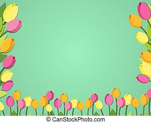 Spring paper cut tulips banner. Flower festival space fort text postcard. Letter format greeting card with floral elements. Vector mock up illustration. Copyspace banner with blooming tulips
