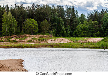 Spring Park. Lake in the spring park. landscape.