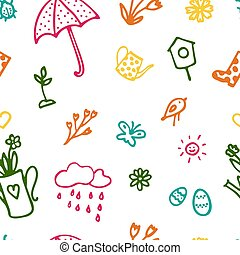 Spring pattern with doodle elements. Hand drawn icon bird, umbrella, birdhouse, flowerpot, rubberboot, su, easter egg, flower, rain cloud, butterfly