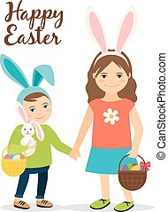 Spring people in easter costumes