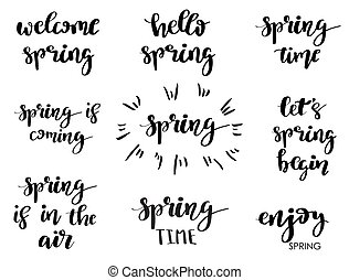Set Of Spring Typography And Calligraphy Title For Designs As