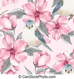 Spring pink flowers and birds. Seamless pattern 4