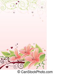 Spring pink frame with lilies and abstract elements