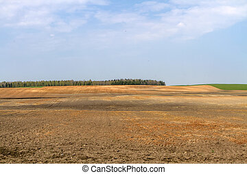 spring plowed field image - Lithuania spring plowing fields...