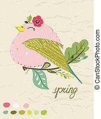 Spring poster with cute cartoon bird in a colorful palette. Vector childish illustration in hand-drawn Scandinavian style.