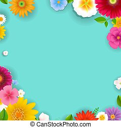 Spring Poster With Flowers And Leaf