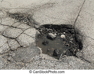 Spring pothole - Pothole in road after spring thaw