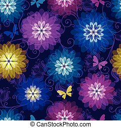 Spring purple seamless pattern with bright translucent flowers and butterflies