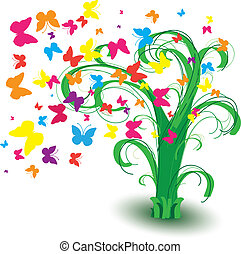 Spring ree with butterflies and curls, vector illustration