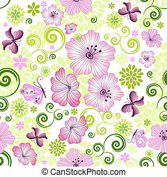 Spring repeating floral pattern with flowers and butterflies (vector)