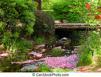 Spring River - A beautiful aspect from a Japanese park in ...
