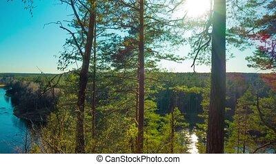 Spring River and sun, panoramic tim