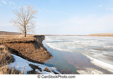 Spring River, the ice on the river.
