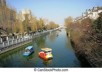Spring, Riverside, Pleasure boat
