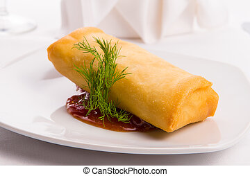 Spring roll complimented with dill served with sweet and ...