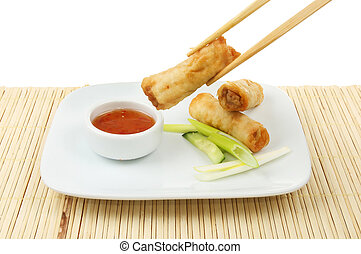 Spring roll in chopstick