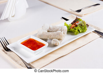 Spring Rolls Appetizer at Place Setting