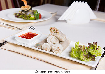 Spring Rolls Appetizer on Plate