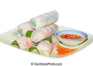 Spring Rolls - Spring rolls, Vietnamese Cuisine, isolated on...
