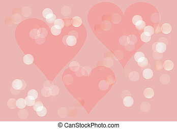Spring romantic background in pink with hearts