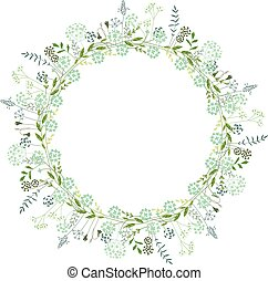 Spring round frame with contour flowers on white